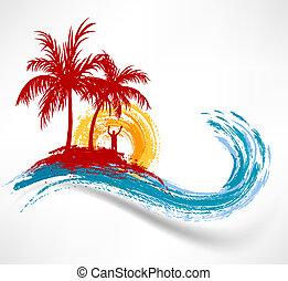 wave., mot, ocean, solnedgång, träd, palm, man