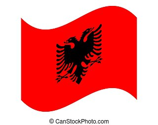 Wave National flag of Albania Vector illustration eps10