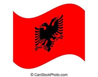 Wave National flag of Albania Vector illustration eps10