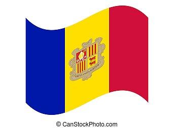 Wave National flag of Andorra. Vector illustration