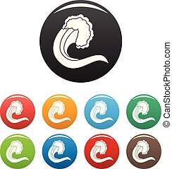Wave nature icons set color vector