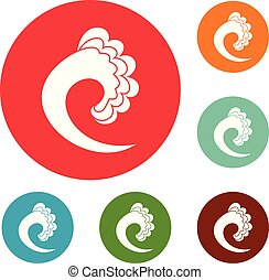 Wave ocean icons circle set vector