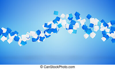 wave of cubes abstract blue background