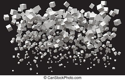 wave of simple cubes. size being bigger from bottom to top. ...