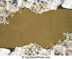 wave of the sea on the sandy beach, water frame