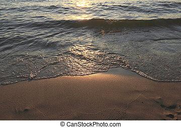 Wave on clear sand beach