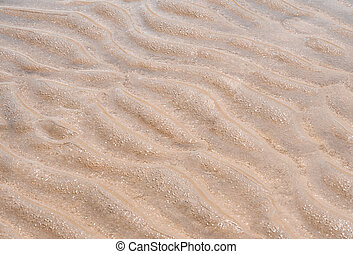Wave on fine sand when the sea is ebb tide