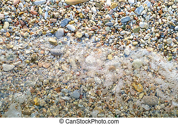Pebbly beach and little wave background