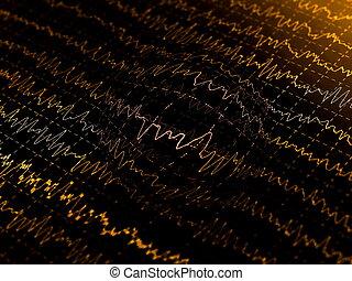 wave oscillations, brain waves on encephalogramme, eeg