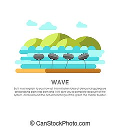 Wave power station water waves energy vector flat illustration