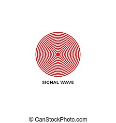 wave propagation vector illustration isolated on white background. logo icon design template. red color theme