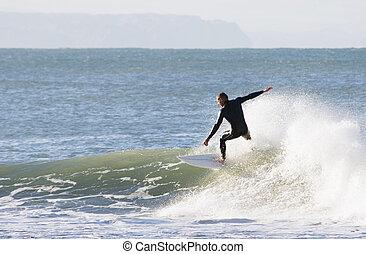 wave riding - Surfing the break at Haumoana Beach, Hawke's ...