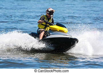 Wave runner - Man riding jet ski wet bike personal...