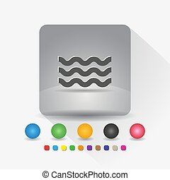 Wave shape icon. Sign symbol app in gray square shape round corner with long shadow vector illustration and color template.