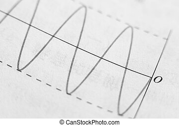 Closeup picture of wave signals on the paper.