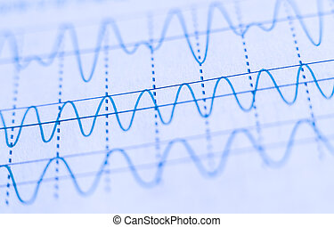 Wave Signals - Closeup picture of wave signals on the paper.