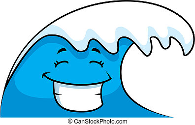 Wave Smiling - A cartoon ocean wave smiling and happy.