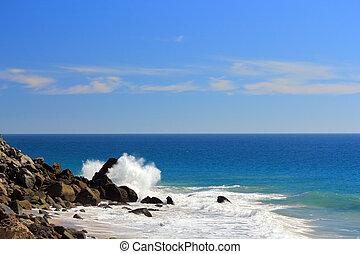 Wave Splash over Black Rock - Powerful breeze waves smash...