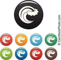 Wave storm icons set color vector