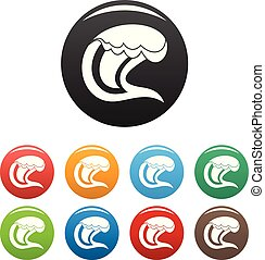 Wave surfing icons set color vector