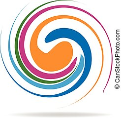 Wave swirly water rainbow logo