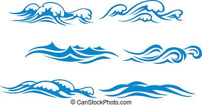 Wave symbols set for design isolated on white background