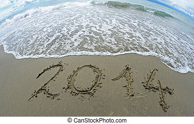 wave that erases 2014 year written on the sea beach 1