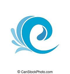 Wave tsunami icon, flat style