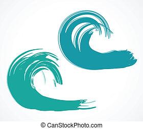 wave., vector, dos, ilustración