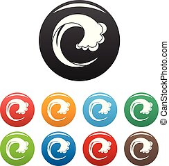 Wave water drop icons set color vector