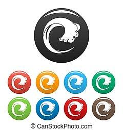 Wave water drop icons set color