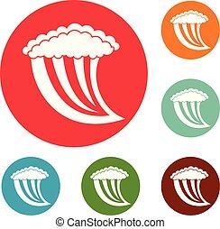 Wave water icons circle set vector