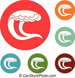 Wave water sea icons circle set vector
