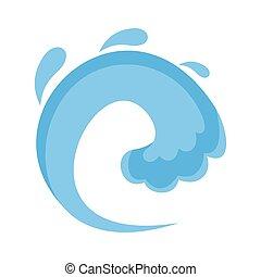 Wave water tsunami icon, flat style