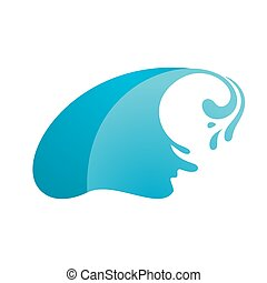 Wave with drop on white background, vector illustration
