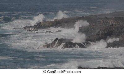 wavebreakers, an, punta, de, teno, kuesten, teneriffa,...