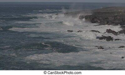 Wavebreakers At Punta De Teno Coastline, Tenerife, Spain -...