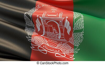 Waved highly detailed close-up flag of Afghanistan. 3D illustration.