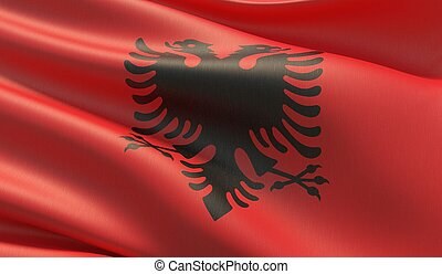 Waved highly detailed close-up flag of Albania. 3D illustration.