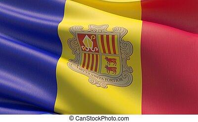 Waved highly detailed close-up flag of Andorra. 3D illustration.