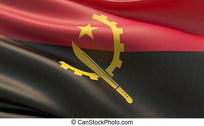 Waved highly detailed close-up flag of Angola. 3D illustration.