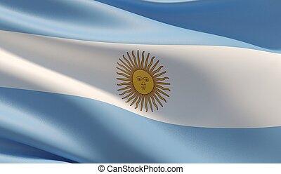 Waved highly detailed close-up flag of Argentina. 3D illustration.