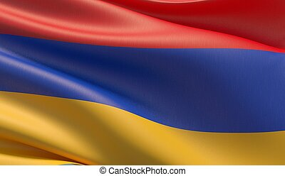 Waved highly detailed close-up flag of Armenia. 3D illustration.