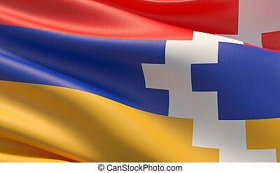 Waved highly detailed close-up flag of Artsakh. 3D illustration.