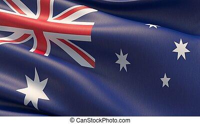 Waved highly detailed close-up flag of Australia. 3D illustration.