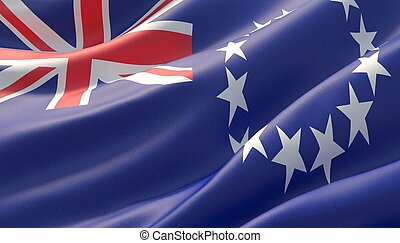 Background with flag of Cook Islands