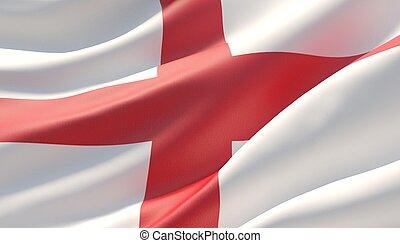 Waved highly detailed close-up flag of England. 3D illustration.