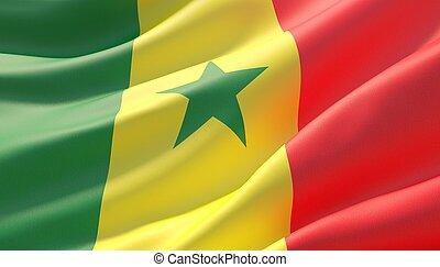 Waved highly detailed close-up flag of Senegal. 3D illustration.