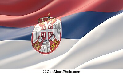 Waved highly detailed close-up flag of Serbia. 3D illustration.