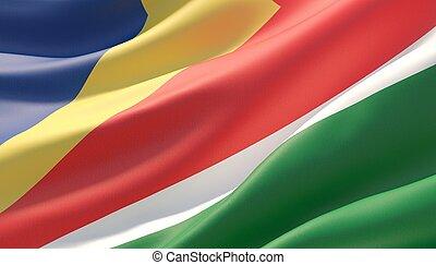 Waved highly detailed close-up flag of Seychelles. 3D illustration.